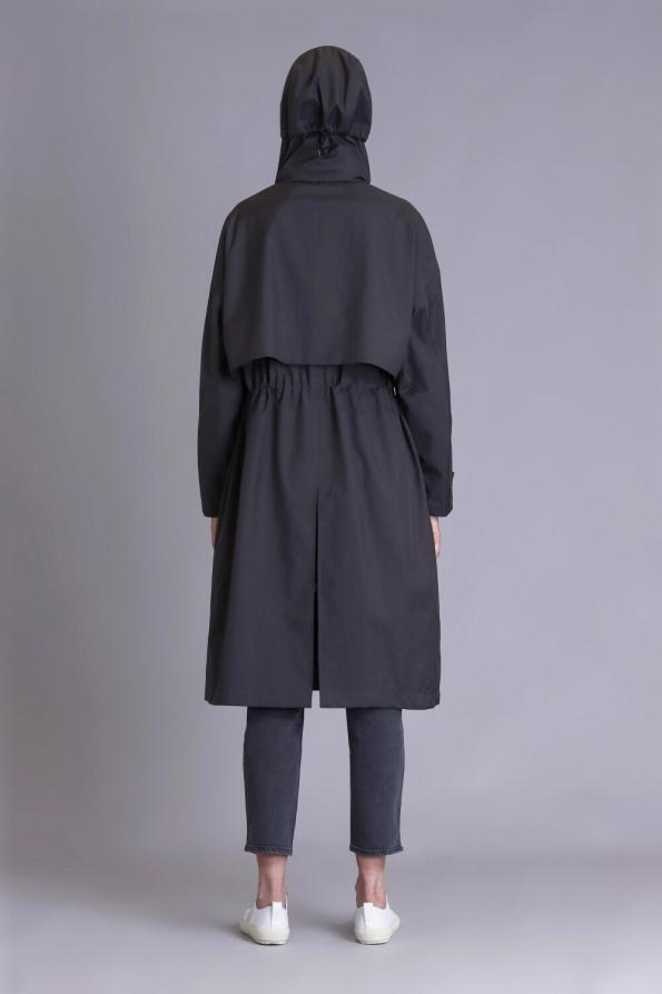 hooded stylish trench coat women